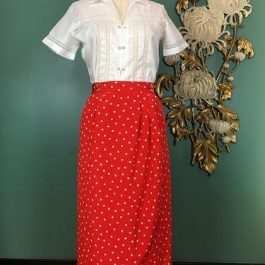 1980s wrap skirt, vintage 80s skirt, red and white, polka dot skirt, size medium, high waist skirt, 28 waist, liz claiborne, straight skirt by BlackLabelVintageWA