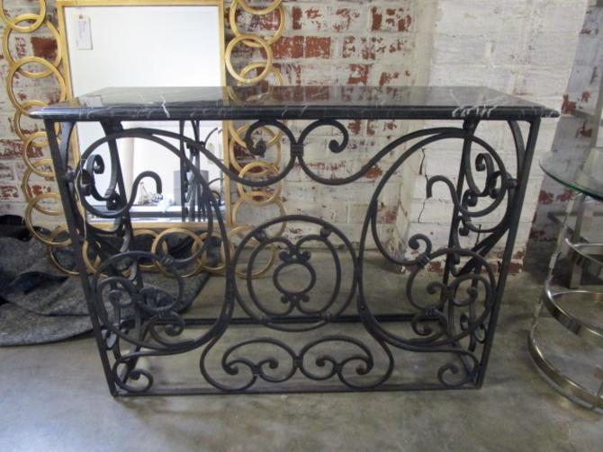 HEAVY WROUGHT IRON AND MARBLE TOP CONSOLE