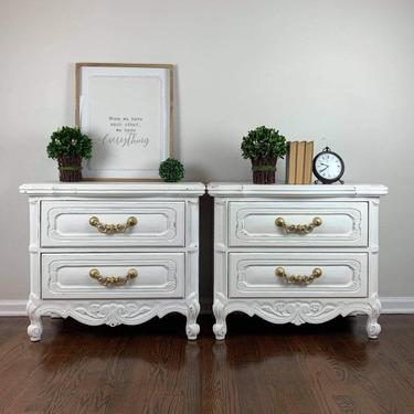 Vintage pair of white nightstands, French provincial nightstands, painted oak nightstands, shabby chic nightstands by MelvenaVintageHome