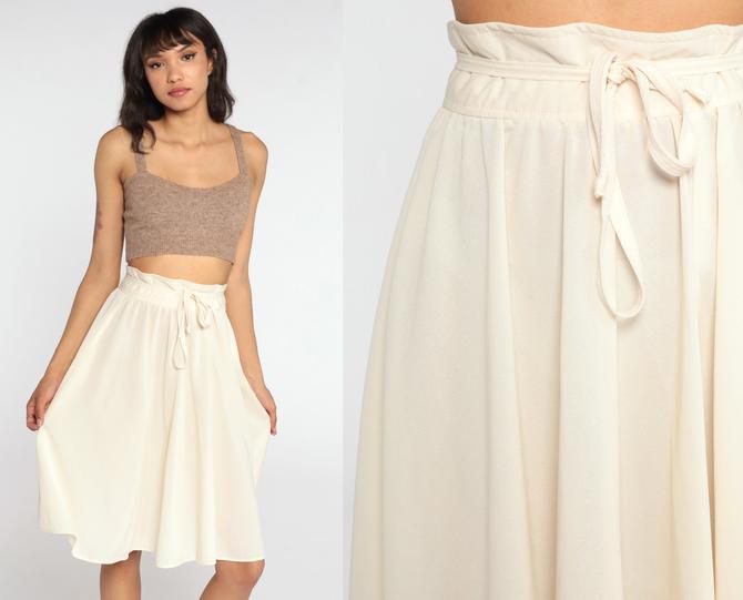 70s Midi Skirt Cream Boho Skirt High Waisted 70s Bohemian Skirt A LINE Skirt Aline Plain Boho Retro 1970s Vintage Extra Small xs by ShopExile
