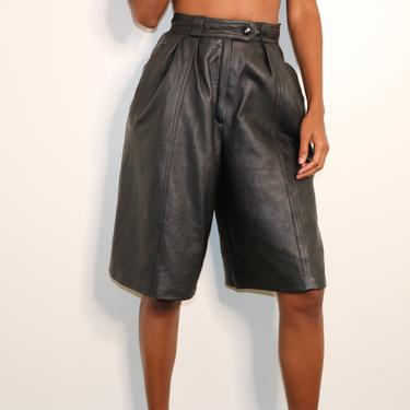 80s Leather Shorts   Lambskin Leather Shorts   Wide Leg Shorts   High Waist Shorts   AANANDA Leather Shorts   Leather Culottes   Small by jmichaelvintage