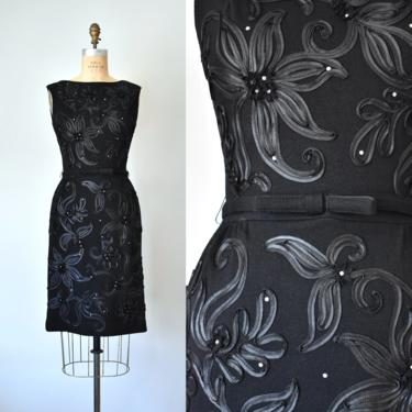 Annette wool knit ribbon rhinestones 1950 dress, 60s dress, vintage clothing women, little black dress, pinup by ErstwhileStyle