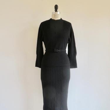 Vintage 1950's Black Wool Sweater and Skirt Set Knit Sweaterdress Kimberly Lofties Pin Up Rockabilly Small Medium by seekcollect