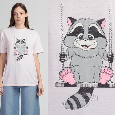 80s Pink Raccoon T Shirt - Large | Vintage Cartoon Animal Retro Graphic Tee by FlyingAppleVintage