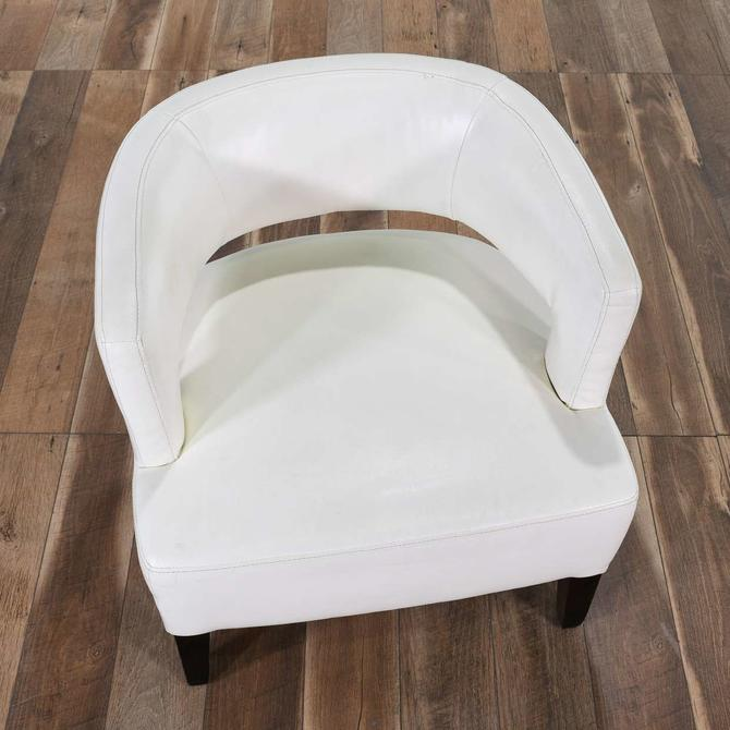 Contemporary White Barrel Back Accent Chair