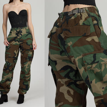 """Vintage High Waist Camo Cargo Pants - 27""""-31"""" Men's Small, Women's Medium 