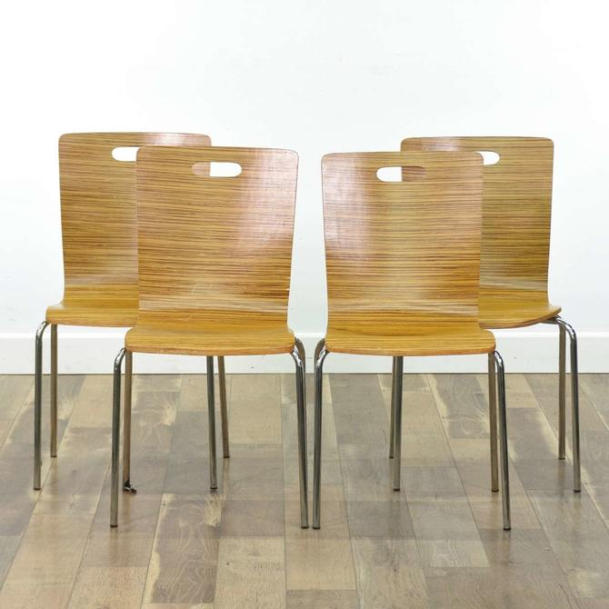 Set Of 4 Modernist Bentwood Dining Chairs
