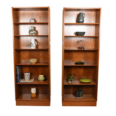 Pair of Tall Walnut Bookcases w\/ Adjustable Shelves