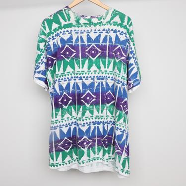 vintage 1990s pastel blue & purple color block 90s COTTON striped short sleeve shirt size XL surf pipeline brand t shirt by CairoVintage