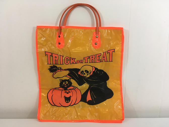 Vintage Halloween Trick or Treat Bag Plastic Party Favor Pumpkin Toy Skeleton Candy Container Crown 1980s Jack O Lantern Basket Witch by CheckEngineVintage