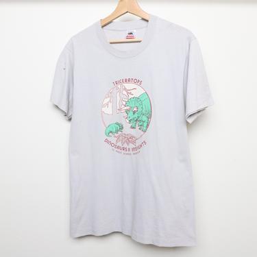 vintage GREY dinosaur t-shirt top men's size medium TRICERATOPS El Paso, Texas SCIENCE museum t-shirt top by CairoVintage