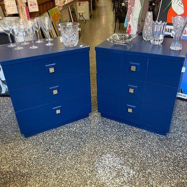 """Two navy blue chest of drawers, 30""""L x 20""""W x 32.5""""T,"""