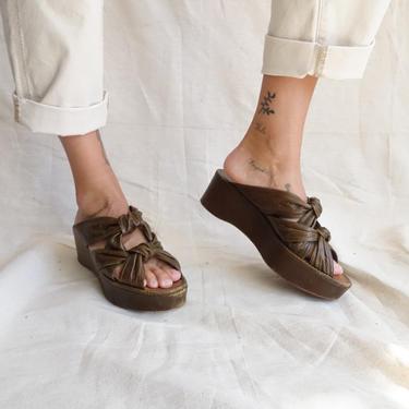 Dries Van Noten Leather Knot Platform Sandals/ Y2k Designer Open Toe Heels/ Size 40.5 10 by bottleofbread