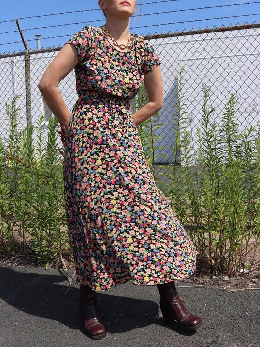 Vintage Floral Maxi / 90's Short Sleeve Shirt Dress S/M by smockwalkervintage