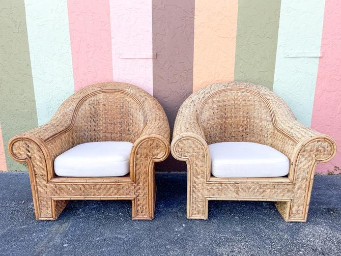 Pair of Ralph Lauren Rattan Lounge Chairs