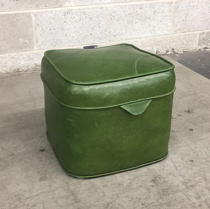 Vintage Ottoman Retro 1970s Green Vinyl + Square Shaped + Cushioned Footstool + Visible Stitching + Extra Seating or Table + Home Decor by RetrospectVintage215