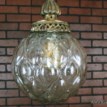 Vintage Clear Round Chain Hanging Swag Lamp Light Bronze Finish by RedsRustyRelics
