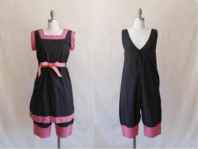 Antique 1910s Cotton Bathing Costume/ 10s 20s Edwardian Black Pink Two Piece Bloomer Set/ Size Medium by bottleofbread