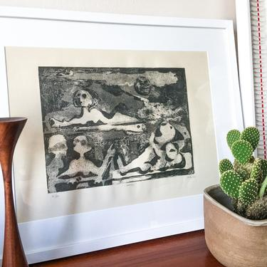1968 Framed Lithograph Signed Vintage Picasso Dubuffet style Neutrals Black White Art I Sarcofagi by Mirko Basaldella Harvard by CaribeCasualShop