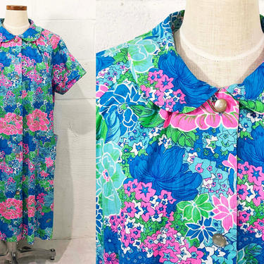 Vintage Styled by Saybury Housecoat Cotton Boho Dress Floral A-Line Blue Pink Green Button Front 60s 1960s Nightgown Short Sleeve Large XL by CheckEngineVintage