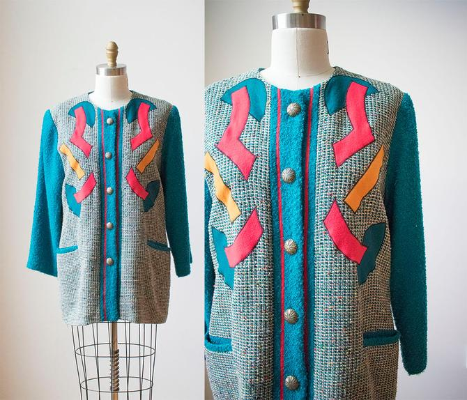 Vintage Abstract Jacket / Fall Vintage Jacket / Woven Hippie Jacket / Teal Jacket / Abstract Applique Jacket / Art Teacher Vibes by milkandice