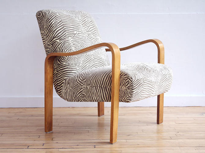 Thonet Lounge Chair w Zebra Upholstery