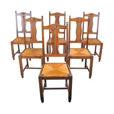 Vintage Set of 6 French Provincial Oak Rush Seat Dining Chairs by StandOutSpaces
