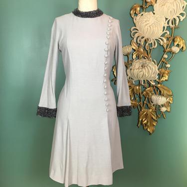 1960s mod dress, dove grey knitdress, faux fur trim, vintage 60s dress, long sleeve dress, medium, mock neck dress, a line dress, 30 waist by BlackLabelVintageWA