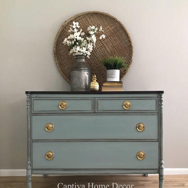 SOLD- Refinished bureau, Duck Egg Blue vintage hand painted dresser, stained, lacquer top, solid wood by CaptivaHomeDecor