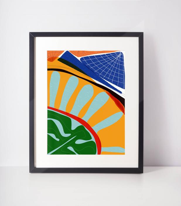 Sunlight | Tropical art | Abstract colorful art | cubicle decor | Home decor | Bold wall art | Happy art | by VioletredStudio