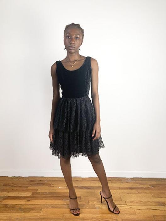 Vintage 50s Dress / 1950s Vintage Dress / Black Velvet Lace Dress / VLV Pin Up Pinup 1950s Cocktail Dress / XS XXS / Sleeveless Rockabilly by ErraticStaticVintage