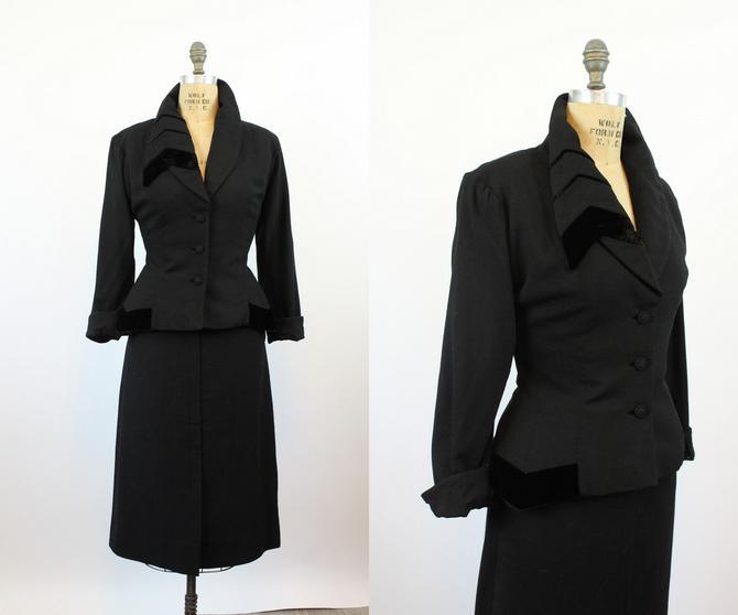 1950s Lilli Ann ASYMMETRICAL LAPELS velvet jacket medium | new fall by CrushVintage