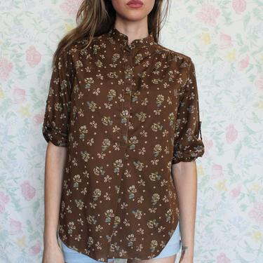 Vintage 1970s Sears Blouse, Half Placket Union Made Brown Floral Shirt, Size Small by AMORVINTAGESHOP