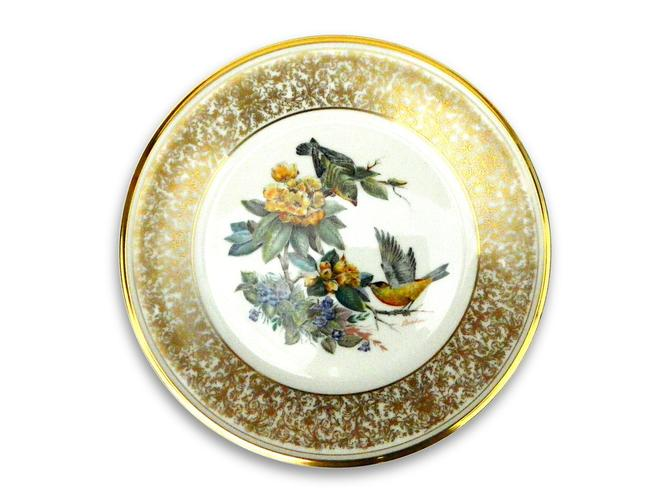 Lenox China Edward Marshall Boehm Goldfinch collectors plate gold border bird quality collectible vintage wildlife wall art home decor 1971 by agardenofdreams