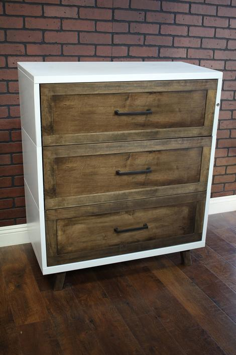 "Metal Cabinet Wood Face 30"", 36"" or 42"" wide 3 drawer / Bedside / credenza / Cabinet Rustic / Nightstand / console / Repurposed Dresser by TheRusticForest"