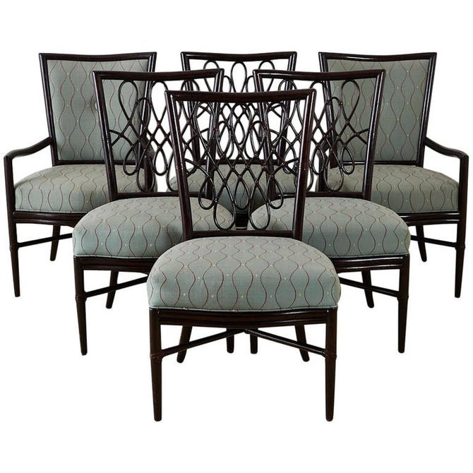 Set of Six Barbara Barry for McGuire Rattan Dining Chairs by ErinLaneEstate