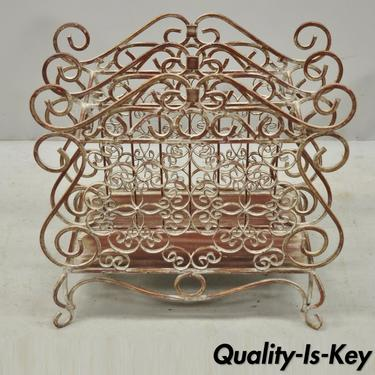 Wrought Iron French Country Style Red Lattice and Flower Bouquet Magazine Rack