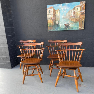 Ethan Allen Petite Windsor Style Swivel Arm Chairs