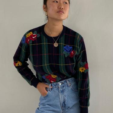90s embroidered plaid lambswool sweater / vintage navy blue tartan plaid floral embroidery angora pullover crewneck sweater | M by RecapVintageStudio