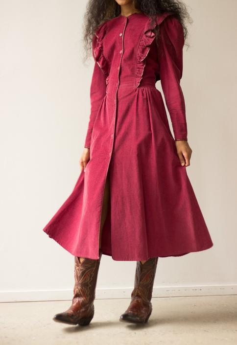 1970s Leon Max Red Corduroy Ruffle Dress by waywardcollection