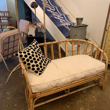 Vintage Rattan Bamboo Settee by coloniaantiques