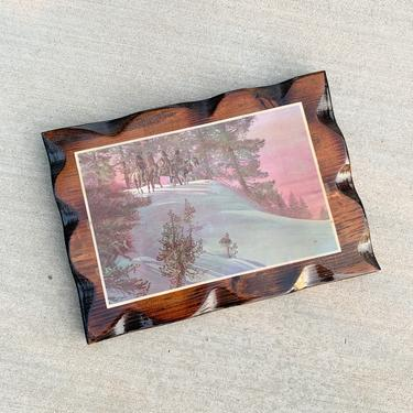 Vintage Native American Indian Western Scene Wood Lacquered Plaque by CottontailTrdPost