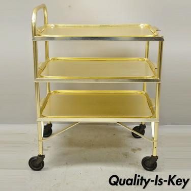 Mid Century Gold Aluminum Metal Folding Rolling Bar Cart Server with 3 Trays