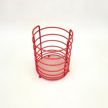 Makeup Brush Holder Metal Round Red Wire Toiletries Dish Bowl Bathroom Catchall Cotton Ball Hair Tie Holder Office Tray Beauty Salon Make Up by MakingMidCenturyMod