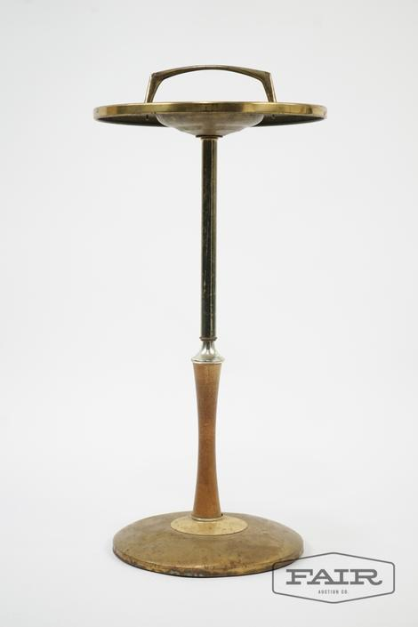 Brass and Wood Ashtray Stand