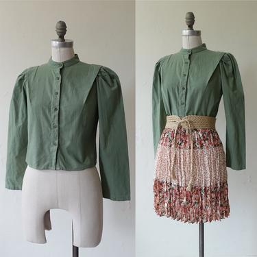 Vintage 70s Sage Cotton Puff Sleeve Blouse/ 1970s Victorian Style Band Collar Cropped Green Blouse/ Size Medium by bottleofbread