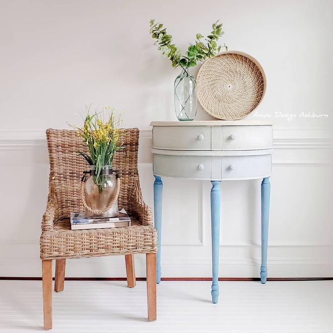 AVAILABLE - Demilune Foyer Table Painted Furniture Texture Beach Finish by AminiDesignAshburn