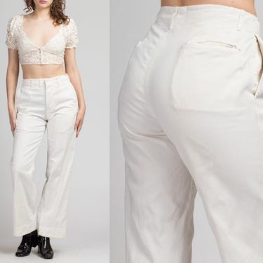"1930s White Cotton High Waist Trousers - Men's Small, Women's Medium, 28"" | Vintage 30s Frank Thomas Straight Leg Workwear Pants by FlyingAppleVintage"
