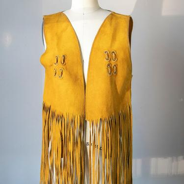 1970s Fringe Leather Vest Suede Top S by dejavintageboutique