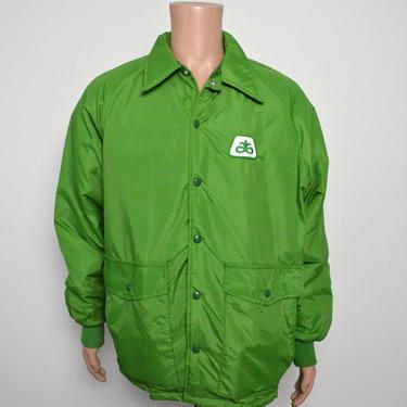 Vintage 1970s Swingster Jacket 70s Lime Green Nylon Workwear by littlestarsvintage